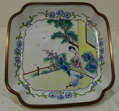 #D304 VINTAGE CHINESE CANTON HAND PAINTED ENAMEL PLATE woman playing Guqin