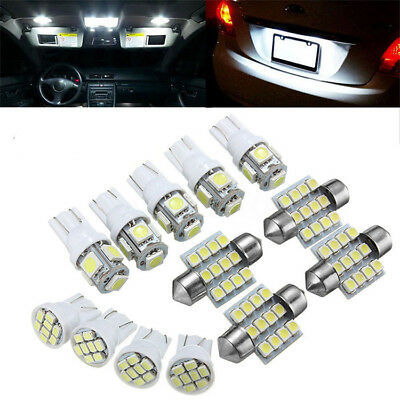 13Pcs Car White LED Lights for Stock Interior & Dome & License Plate Lamps