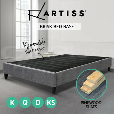 QUEEN DOUBLE KING Size Bed Base Frame BRISK Fabric Platform Mattress Grey