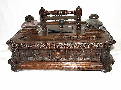 MASSIVE Antique Carved Oak Gothic Ink Desk Stand & Drawer Inkwell WINDOW DISPLAY