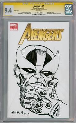 Avengers #7 Cgc 9.4 Signature Series Signed Al Milgrom Thanos Sketch Oa Movie