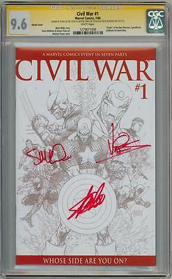 CIVIL WAR #1 SKETCH CGC 9.6 SIGNATURE SERIES SIGNED x3 STAN LEE MCNIVEN MOVIE