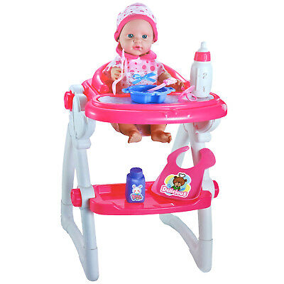 Baby Doll Seat High Chair + Accessories Girls Toy Gift Pretend Play Fun Sounds