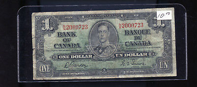 1937 Bank of Canada $1 Gordon Towers DCW72