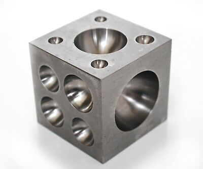 "Proops Solid Steel Doming Dapping Block, 2.5"", 2mm-41.5mm Indentations. M0035"