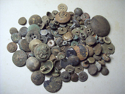 Dug Lot Scrap Buttons 1600's And Later Metal Detecting Finds.