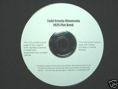 CD ~ 1925 Todd County (Long Prairie) MN Plat Map Atlas