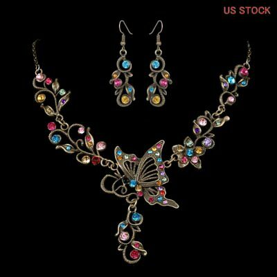 Vintage Colorful Crystal Butterfly Earrings Necklace Wedding Bridal Jewelry Set