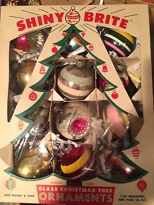 Vintage Box Of Shiny Brite Glass Christmas Ornaments In Box  Indents & Glitter