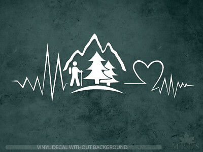 Hiking Decal | Heartbeat mountain decal | Vinyl Sticker & Wall Decals