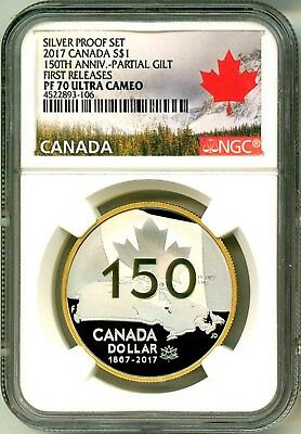 2017 Canada S$1 Silver Proof Set 150th Ann Partial Gilt FR NGC PF70 Ultra Cameo