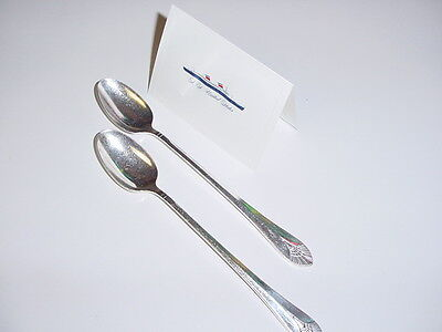 SS UNITED STATES LINES  (2) Silver Iced-Tea Spoons  /  Top Condition