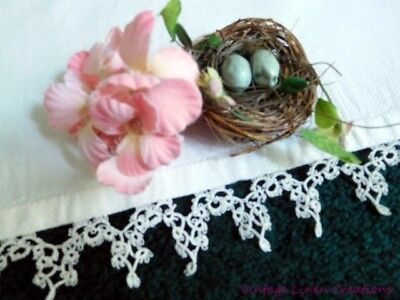 * Antique DAMASK Huck LINEN * LILY OF THE VALLEY * TATTED LACE COTTAGE TOWEL