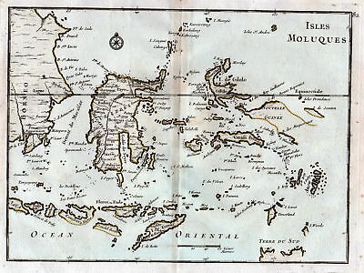 1767 Maluku Islands Indonesia Karte map Kupferstich antique print Le Rouge