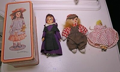 Vintage 1987 Giordano Margaret Tin w/ Old Creepy Dolls LOT x3 Ceramic Doll Toy