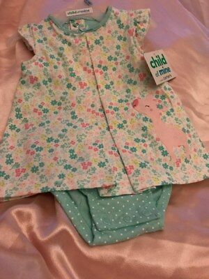 CHILD OF MINE by CARTERS 0 - 3 MONTHS GIRLS ONE PIECE SNAP GREEN FLORAL
