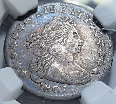 NGC XF-40 1807 Draped Bust Silver 10 Cent Dime High Grade Coin Graded XF40 JR-1