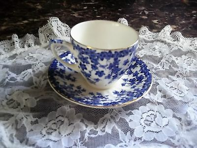 "Crown Ducal ""Early English Joy"" Blue Ivy Demi Tea Cup & Saucer Set"
