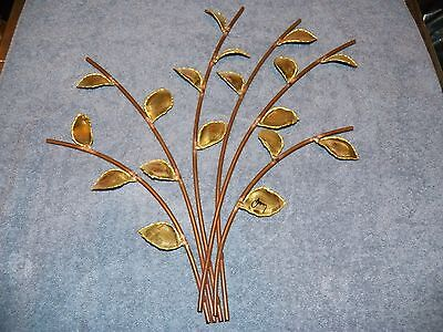 Signed Mid Century Copper Branches & Brass Leaves Wall Art