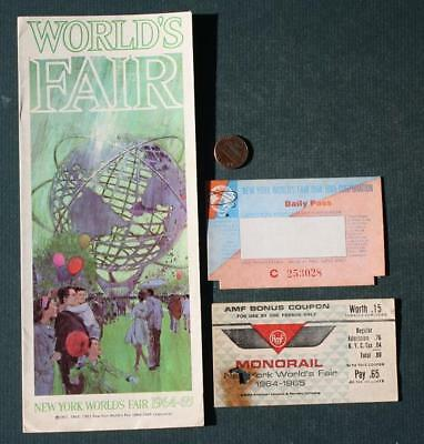1964-65 New York World's Fair 3 Piece Brochure & ticket Set-Unisphere & Monorail