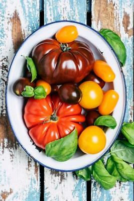 Bowl of Heirloom Tomatoes on Rustic Table Photo Art Print Poster 24x36 inch