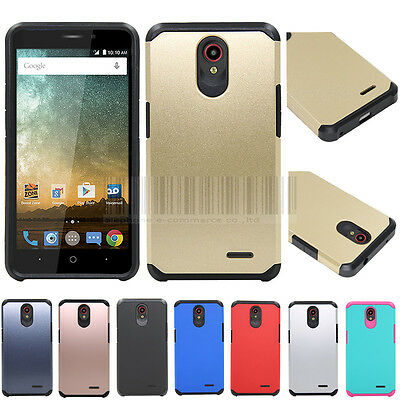 Hybrid Armor Hard Case Shockproof Rubber Cover Skin For ZTE Prestige 2/Maven 3