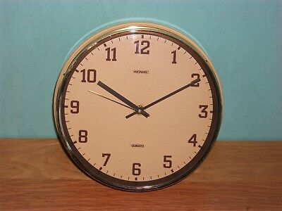 "Vintage Metamec Wall Clock Battery Quartz Gold Brown 8"" Face Made In England"