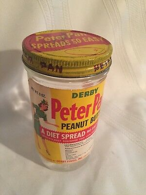 Derby Peter Pan Peanut Butter Diet Spread 9 oz Jar Lable & Lid