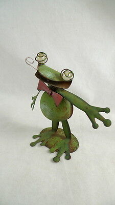 Metal GREEN FROG Figurine Standing Art Sculpture RED BOW TIE
