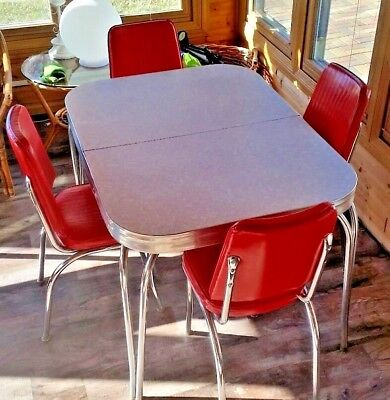 vintage 1950s formica chrome kitchen table and chairs dining set red and gray