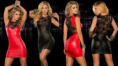Sexy Black Red Wetlook Faux Latex Vinyl Club Wear Body Con Dress With Lace Back