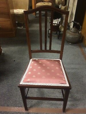 Antique 20th Century Edwardian Stained Wooden Inlay Reupholstered Bedroom Chair