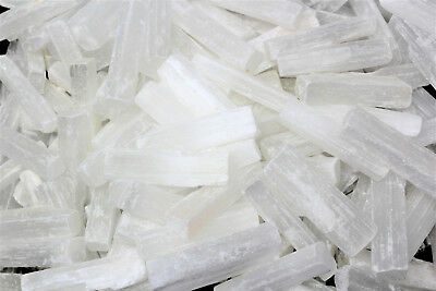 "3 lb Bulk Wholesale Lot 3"" Selenite Logs Crystal Sticks Wand Blade 3 Pounds"
