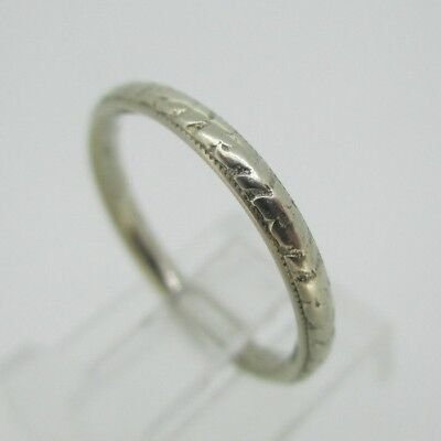 Vintage Antique Flower Art Deco 14k White Gold Estate Wedding Ring Band Size 6