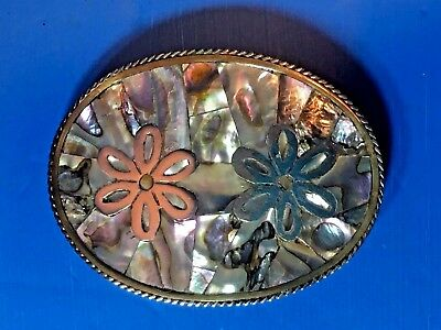 Abalone Shell Belt Buckle Silver & Brass & Vintage 1960'S 70'S Mexico
