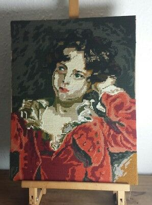 LARGE wool SAMPLER TAPESTRY The Red Boy Thomas Lawrence COMPLETED