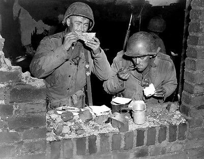 WWII B&W Photo US Soldiers Chow Time  WW2 World War Two US Army Europe /1069