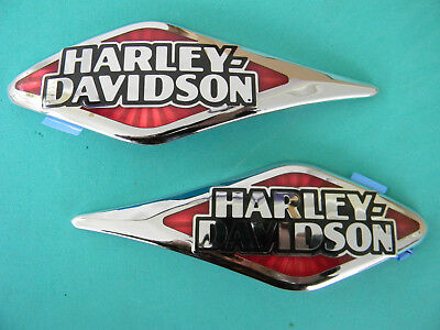 Harley Davidson gas tank EMBLEMS  red and chrome  NEW in box  2015 FLSTC