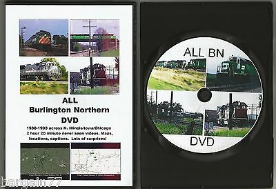ALL Burlington Northern DVD-2 hour 20 min BN 1988-93 in Upper Midwest