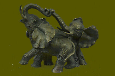 Two Baby African Elephant in Wild Bronze Sculpture Art Deco Statue By Barye SALE