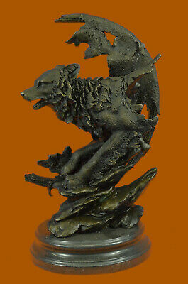 CLEARANCE SALE Celtic Moon Wolf Bronze Sculpture Marble Base Figurine Statue