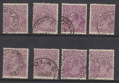 1928 4½d VIOLET KGV, Small Multiple Watermark, perf 13½ x 12½, 8 stamps, USED