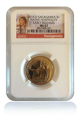 NGC MS67 2014-D Native American Hospitality Sacagawea Dollar Early Releases Gem
