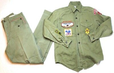 Vintage BSA Boy Scouts Of America Uniform Shirt Pants Set Green With Patches