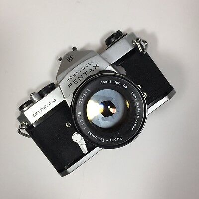 Pentax Honeywell Spotmatic SLR Film Camera W/1:1.8/55 Super Takumar Lens Vintage