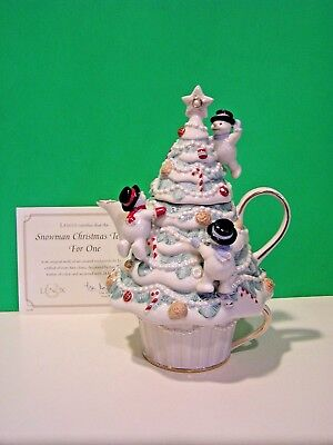 LENOX SNOWMAN CHRISTMAS TEAPOT FOR ONE 3 piece NEW in BOX with COA