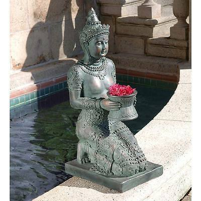 "Design Toscano 29"" Hand Painted Verdigris Bronze Thai Princess Sculpture"
