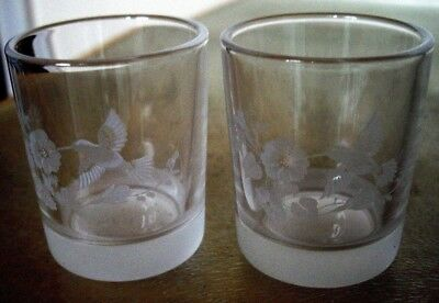Avon Hummingbird Lead Crystal Shot Glasses X 2