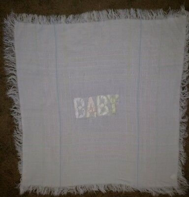 Vintage QUILTEX BABY BLANKET Acrylic Applique White Plaid Fringe Satin  TA