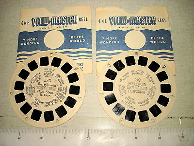 2 c1940 Hand-Lettered VIEWMASTER REEL Lot #219 #220 HOLLYWOOD CA NR